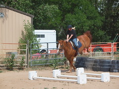 K and Calliope, presenting fence to Calliope, backing then jumping fence