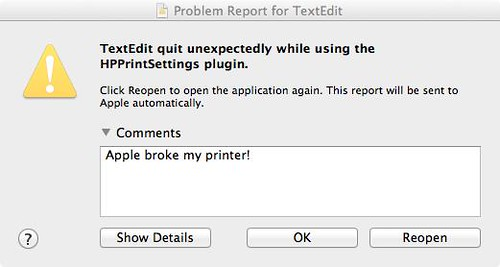 apple hp printer fail