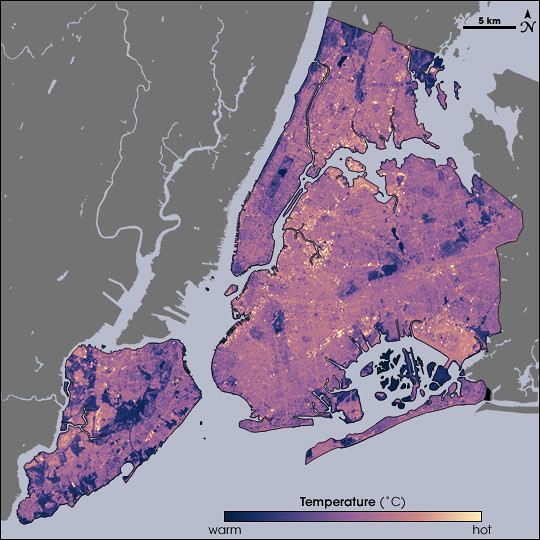 NASA Map of Surface Temperatures in New York City, 2002-08-14