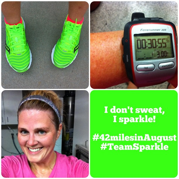 3 miles done! Wore the new neon @Saucony Kinvara 3's tonight. Tomorrow I rest. 8 miles on Saturday. #42milesinaugust