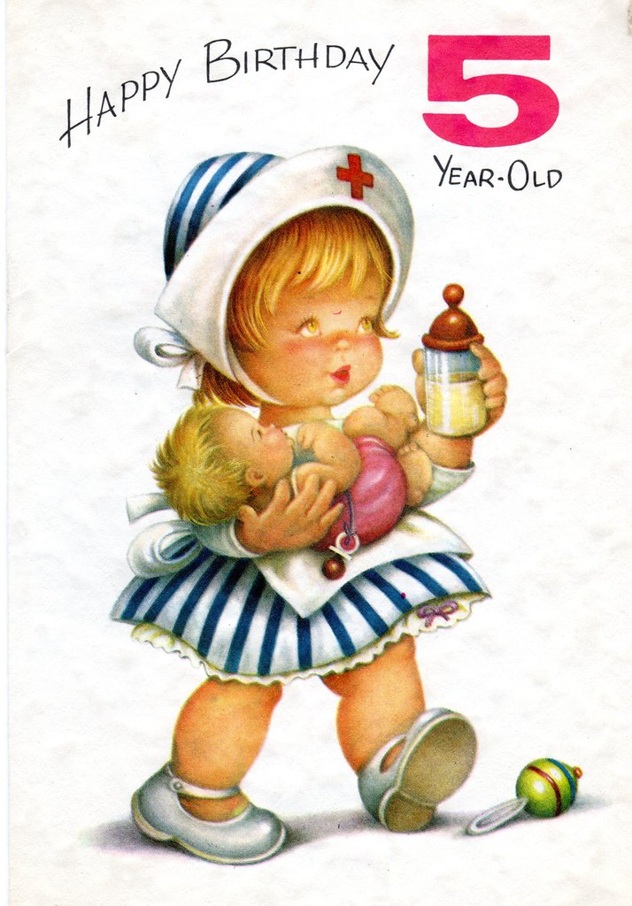 Chubby Cheeks Nurse Birthday Card For Five 5 Year Old Child Vintage 1960s