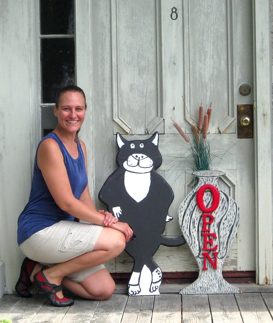 Me with the Gorey House front door cat, cropped