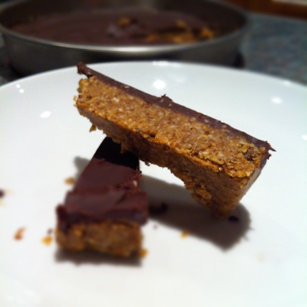 Nuts and seed chocolate coated energy bar... Or for short No Bake Nut Slice. #lowcarb #nosugar #lchf