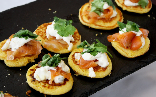 Smoked Salmon on Yellow Corn Pancake