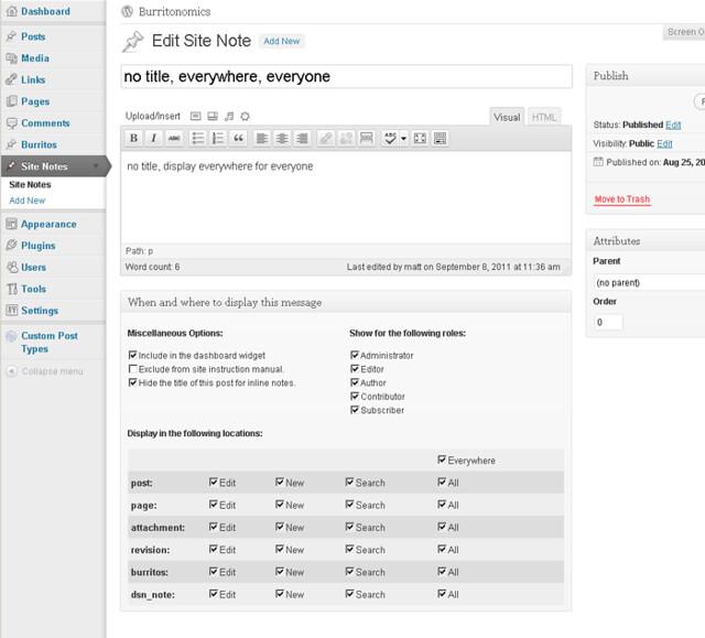 Plugin phân quyền trong WordPress - Dashboard Sidenote