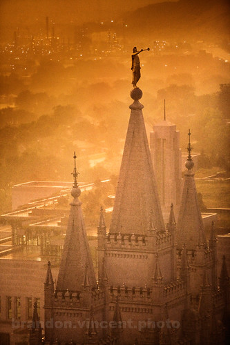 city sunset mist lake church fog angel temple golden religion salt spire mormon lds