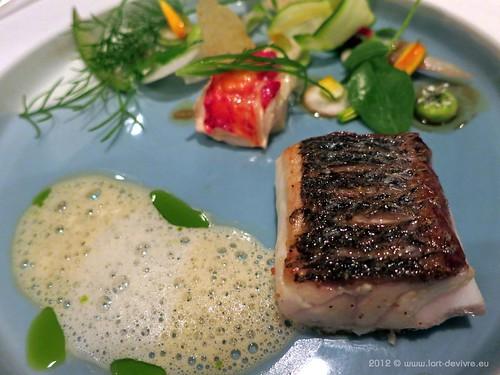Oud Sluis l sea bass on salt stone prepared
