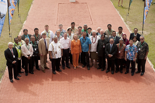 Secretary of State Hillary Clinton with the PIF leaders in Rarotonga 2012.
