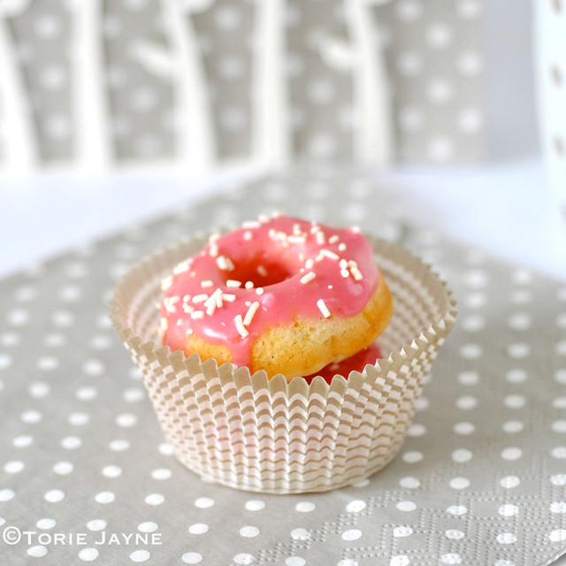 Nectarine, raspberry glaze doughnut