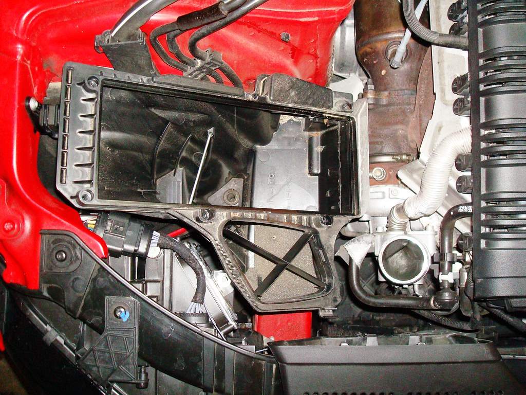 If you happen to want to completely remove the top of the air box like i did be careful when removing the mass air connector i m normally very careful but