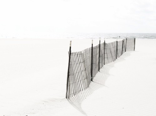 Bleached beach and fence