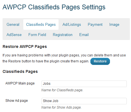 classified pages