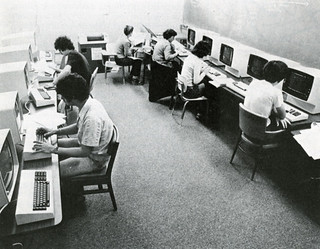 Students working at terminals for the IBM 4331 obtained in 1980