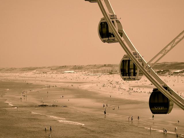 Ferris wheel and beach , Scheveningen , the Netherlands