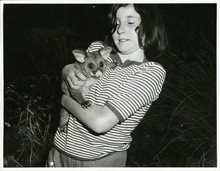 Arthurs Pass, National Park. Chief Ranger's daughter with Opossum