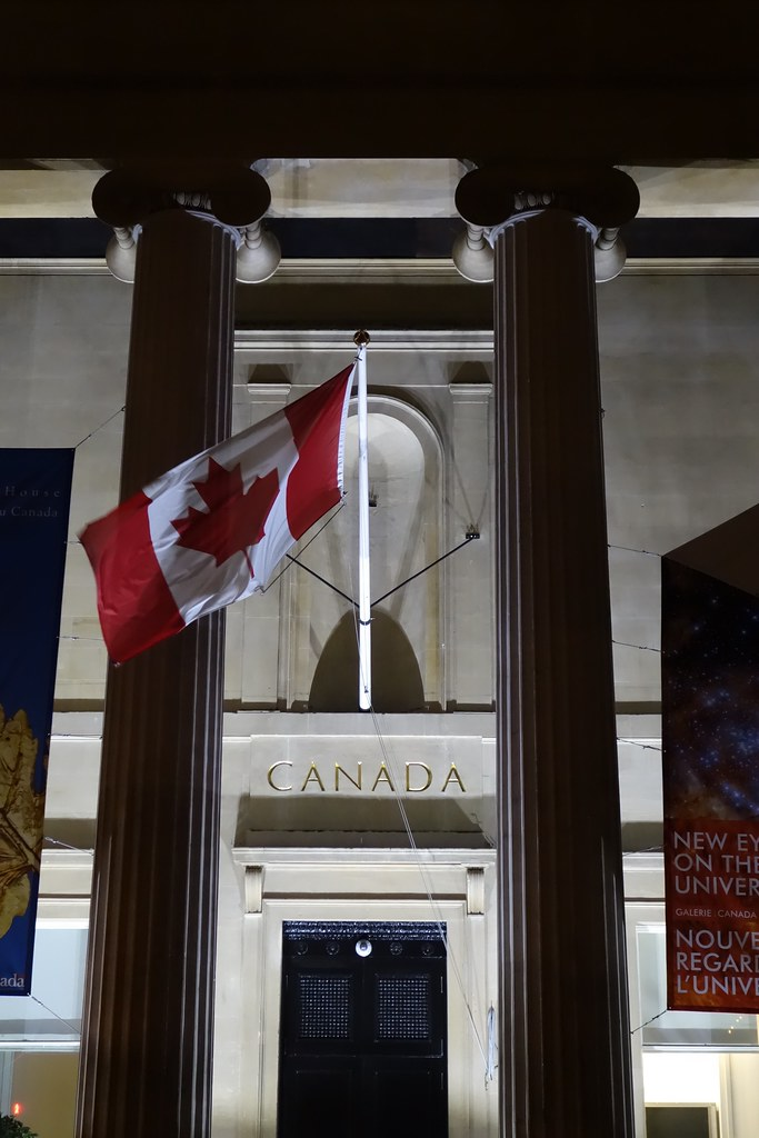 Canadian maple leaf flag, London, England