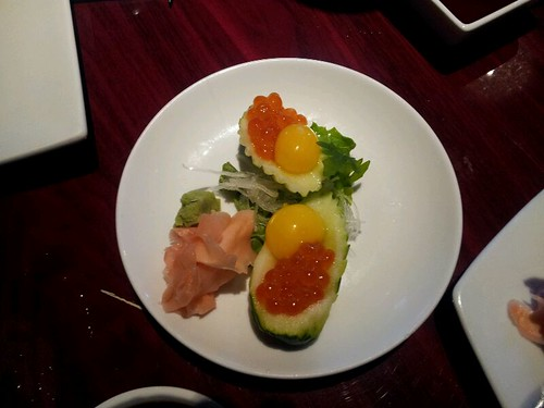 Salmon Roe With Quail Egg @ Koi Sushi by vegita6879