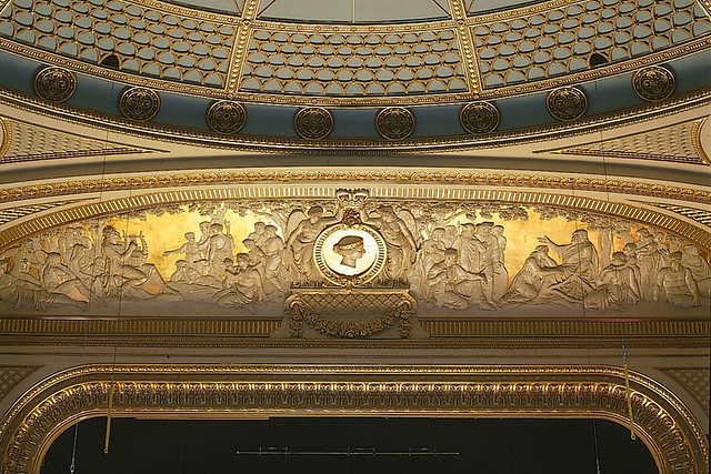 The decorative gilt frieze above the proscenium arch in the auditorium. ©Rob Moore/ROH 1998