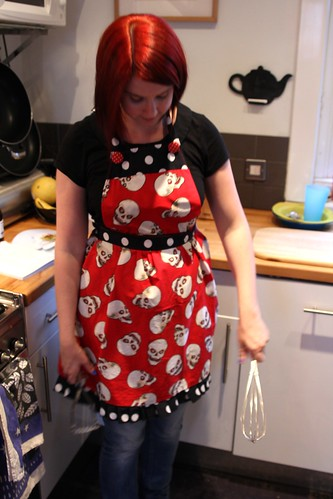 Demonstrating my whisking skills