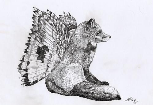 Flying Fox :: Sketchbook Page by www.sandradieckmann.com