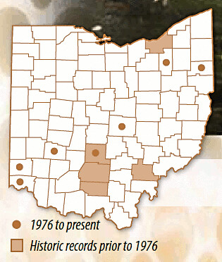 Distribution of Red-eared slider turtles in Ohio