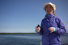 Haidee on the lookout for spotted seals on the  Notsuke Peninsula (Hokkaido, Japan)