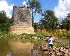 Me, in my sombrero, at Old Railroad Bridge Supports, Brazos River , Downstream from Hwy 290 1208161604