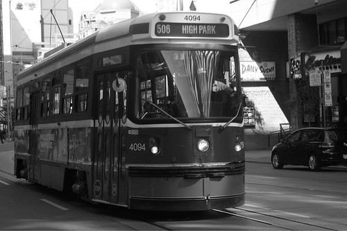 12-194 Toronto Transit CLRV road car No. 4094 heads through Church/Yonge towards High Park on Route 506