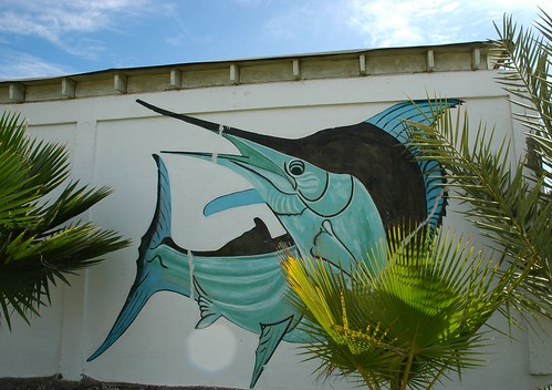 Swordfish mural, Baja's Best El Rosario Cafe Bed and Breakfast, palm fronds, Baja, Mexico by Wonderlane