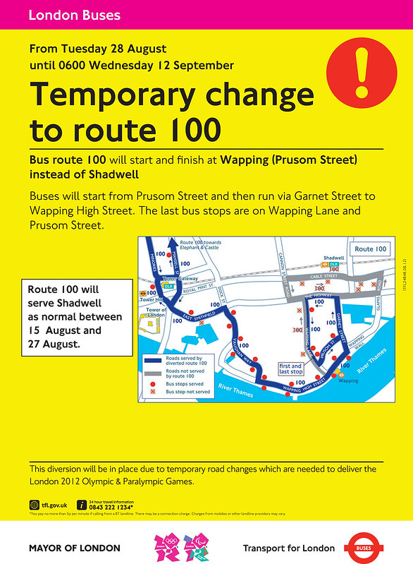 100 bus route changes during the Paralympic Games