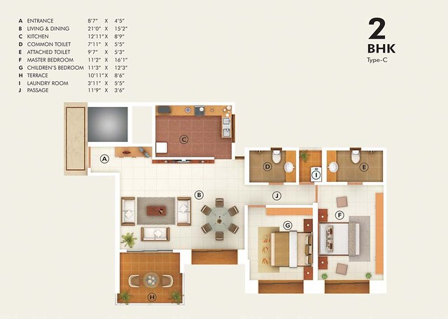 Pudumjee G:Corp Developers' Greens - 2 BHK Flat - C Type - 942 Carpet + 88 Terrace - Rs. 64.18 - 67.30 Lakhs