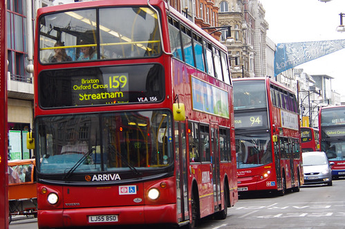 Buses Line up on Oxford Street