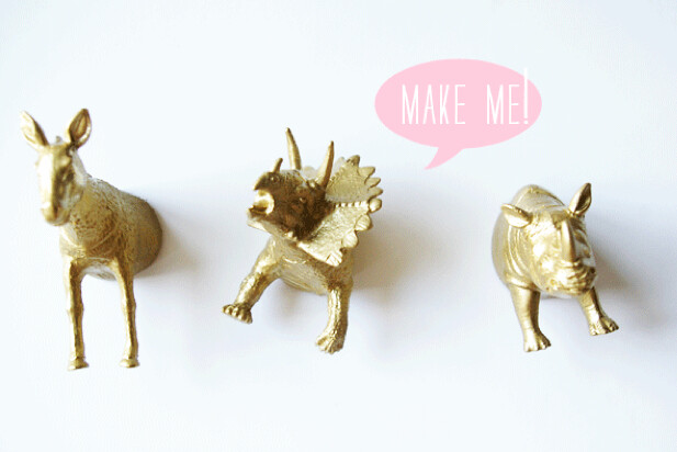 diy gold painted animal magnet