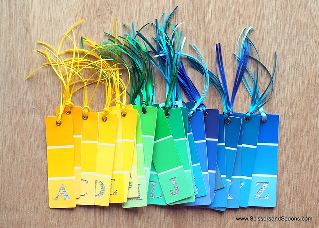 DIY Alphabet Paint Chip Bookmarks