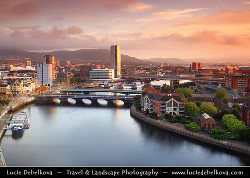 UK - Northern Ireland - Belfast - City Skyline along River Lagan during morning light