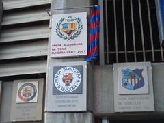 Escut de la Penya Blaugrana de Tona al Camp Nou.