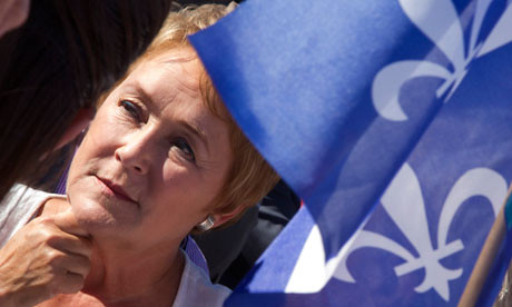 Parti Quebecois leader Pauline Marois at a campaign stop in Chateauguay, Quebec on September 1 2012. She is to set up a minority government in Quebec.