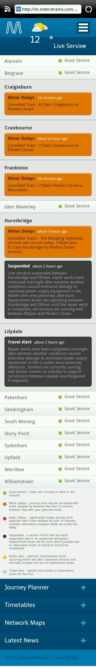 Metro train status: 6/9/2012 8:15am