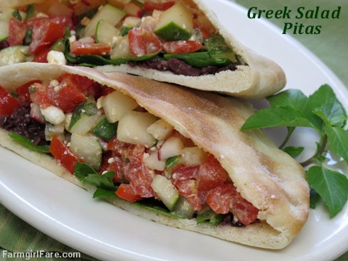Greek salad pitas with kalamata olive tapenade (1) - FarmgirlFare.com