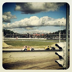 Practice! #nelcar #legends #race #racing #8 #racecar #racetrack #maine #sky #clouds
