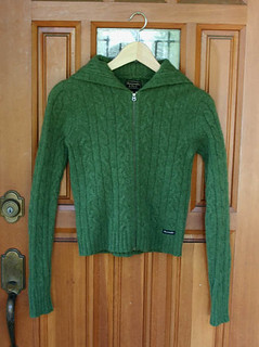 green cable hooded cardigan (for swap)