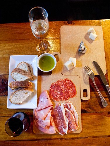 Salumi and cheese with wines