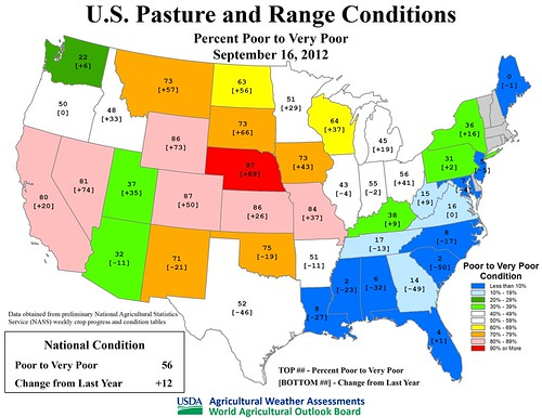 U.S. Pasture and Range Conditions as of September 16, 2012.
