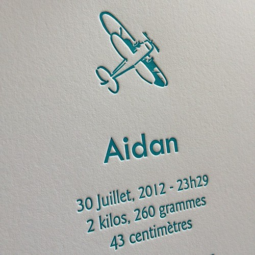 Printing a lot of airplane birth announcements today! #letterpress #birthannouncement