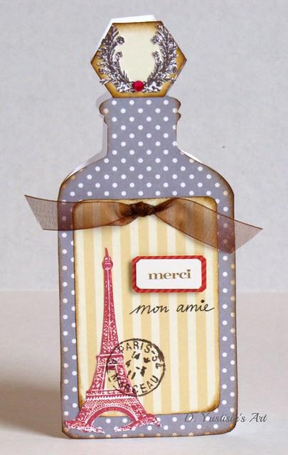 Paris theme antique bottle card