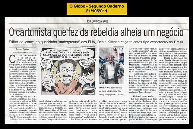"""""""O cartunista que fez da rebeldia alheia um negócio"""" - O Globo - 21/10/2011"""
