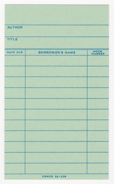 Green Library Book Borrow Card Flickr Photo Sharing