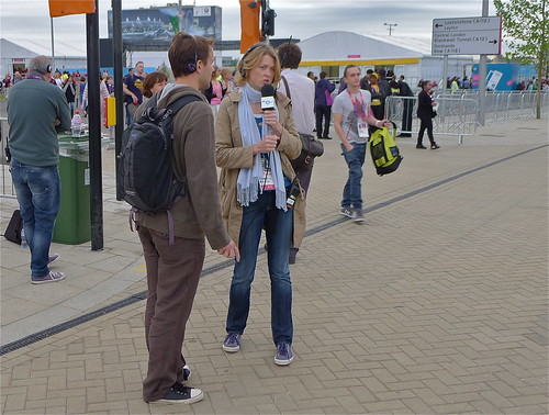 Rachel Burden, BBC Radio 5Live, outside the Olympic Park, London 2012