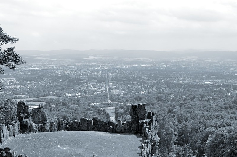 View from the top of the Bergpark Wilhelmshöhe in Kassel