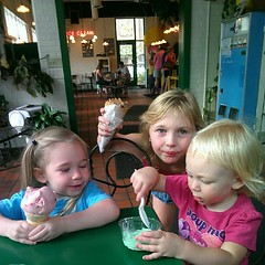 Cousins eating ice cream.